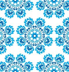 Seamless blue floral Polish folk art pattern vector image vector image