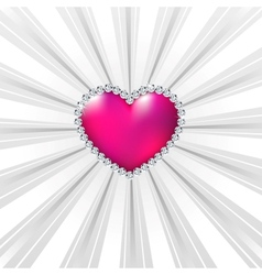 Shiny crystal love hearts on silver line vector image