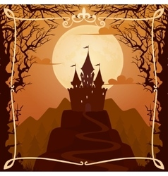 Square cartoon background with castle vector