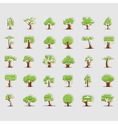 Tree symbols for green web design vector image