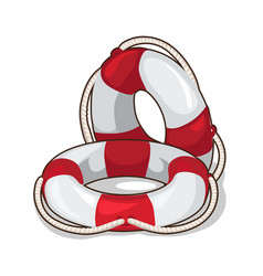 classic inflatable lifebuoy on a white background vector image