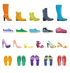Different shoes isolated collection vector image