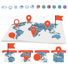 Earth maps set with pins and charts vector image