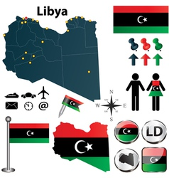 Map of Libya vector image vector image