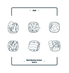 marijuana attributes icons set black two vector image