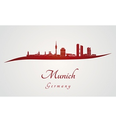 Munich skyline in red vector image vector image