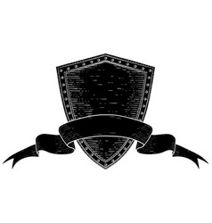 shield with award ribbon banner black hand drawn vector image