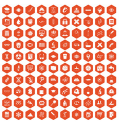 100 microscope icons hexagon orange vector