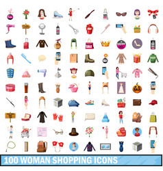 100 women shopping icons set cartoon style vector