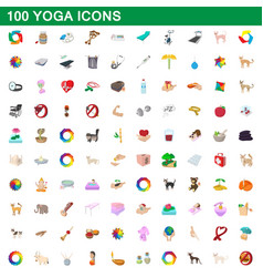 100 yoga icons set cartoon style vector