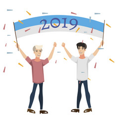2019 happy new year people celebration vector