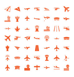 49 aviation icons vector image
