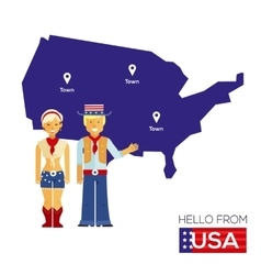american couple in national costumes vector image