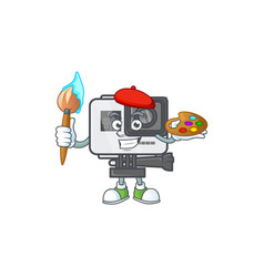 An elegant action camera painter icon with brush vector