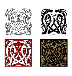 Ancient celtic ornament with wild animals vector image