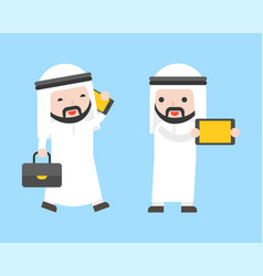 arab businessman and gadget such as cellphone vector image