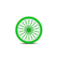 Bicycle wheel in green design with shadow vector