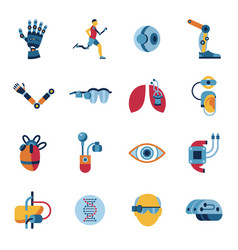 Bionics and artificial intelligence icon set vector
