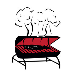 Black bbq grill icon vector