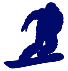 blue silhouette of a snowboarder vector image