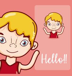 Boy saying hello cartoon vector
