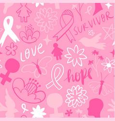 Breast cancer pink flower doodle background vector