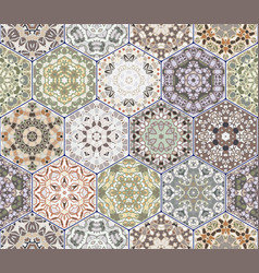bright seamless pattern of hexagonal tiles with vector image