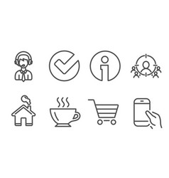 Business targeting verify and coffee icons vector