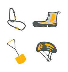 carbine hiking boots shovel helmet flat icons vector image