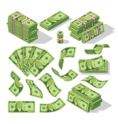Cartoon money bills green dollar banknotes cash vector