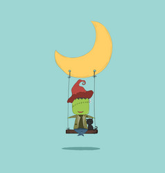 Cartoon monster swinging on a moon drawing by hand vector