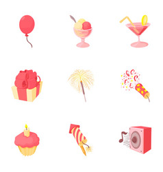 Children party icons set cartoon style vector