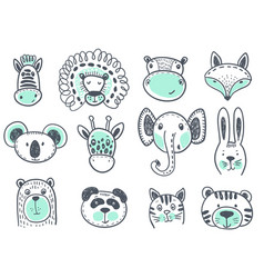 collection of cute animal heads for baby vector image