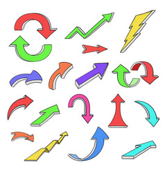 colored arrows hand drawn doodles vector image