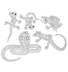 Coloring page with reptiles in patterned style vector