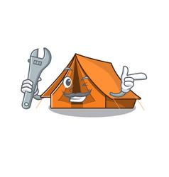 Cool mechanic camping tent scroll cartoon vector