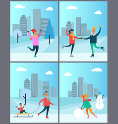 Couple skates on rink man in sweater woman snowman vector