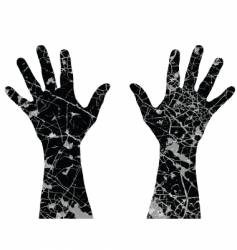 Cracked hands vector