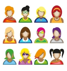 Creative modern icons avatars with woman persons vector image