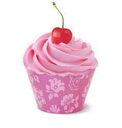 Cupcake with cherry realistic 3d vector