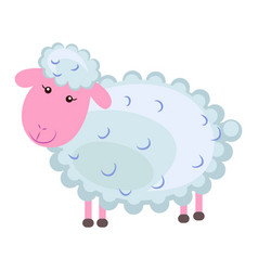 Cute sheep cartoon flat sticker or icon vector