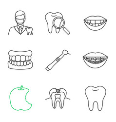 Dentistry linear icons set vector