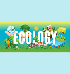 ecology isometric header title vector image