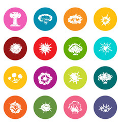 explosion icons many colors set vector image