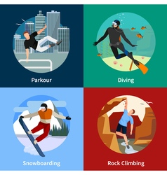 Extreme Sports People 2x2 Icons Set vector image