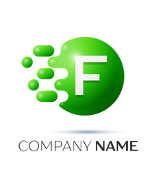 F letter splash logo green dots and circle bubble vector