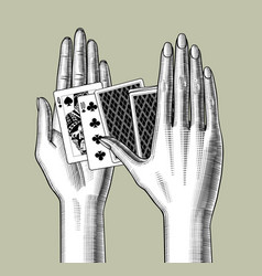Female hands with playing cards vector