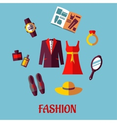 Flat fashion icons vector image