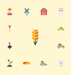 Flat icons radish storehouse grain and other vector