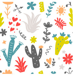 Floral seamless pattern with colorfulwild cactus vector